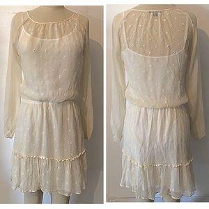 Ivory Silk Ella Moss long sleeve Boho dress sz M